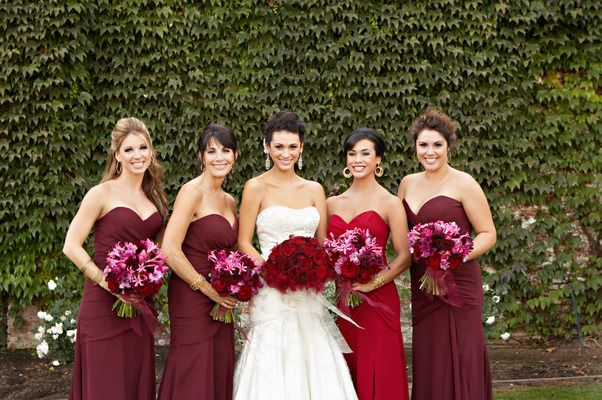 Maid Of Honor In Diffe Shade Bridesmaid Gown Red Wedding