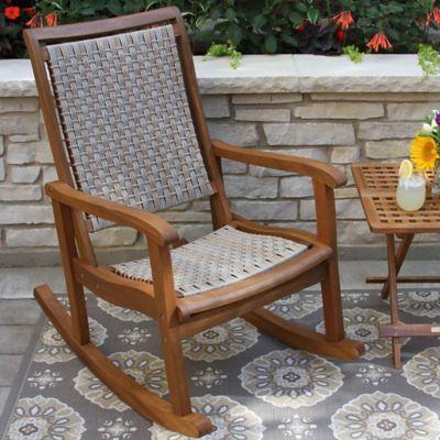 Marvelous Outdoor Interiors Eucalyptus And Wicker Outdoor Rocker In Inzonedesignstudio Interior Chair Design Inzonedesignstudiocom