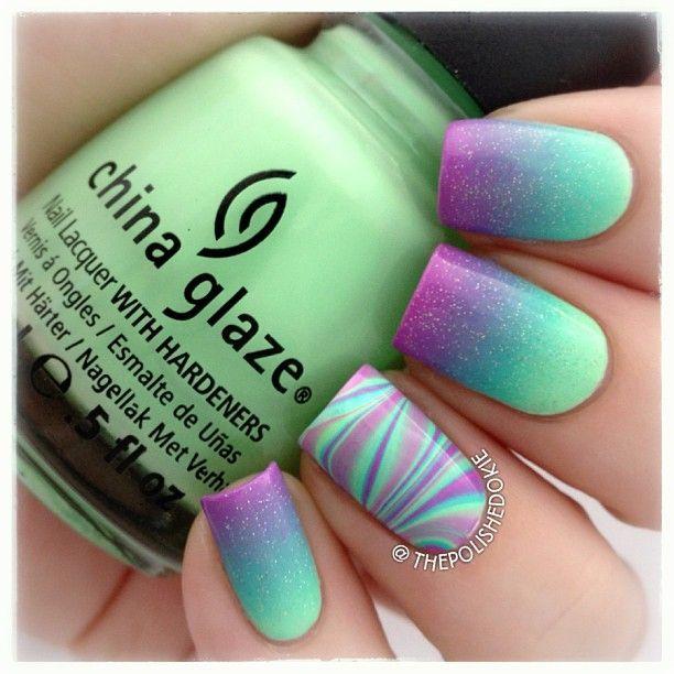 Degradación de verde y morado | uñas de verano | Pinterest | Verde ...