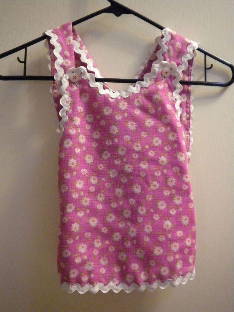 Baby toddler or kid Apron kitchen helper pink girls handmade vintage inspired