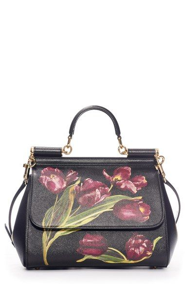 Dolce Gabbana  Small Miss Sicily  Tulip Print Leather Satchel available at   Nordstrom 4f7c3468c9f98