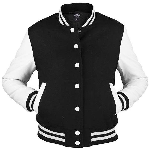 Urban Classics Wmns Ladies Oldschool College Jacket 77 Found On Polyvore Leather Look Jackets College Jackets Bomber Jacket Vintage