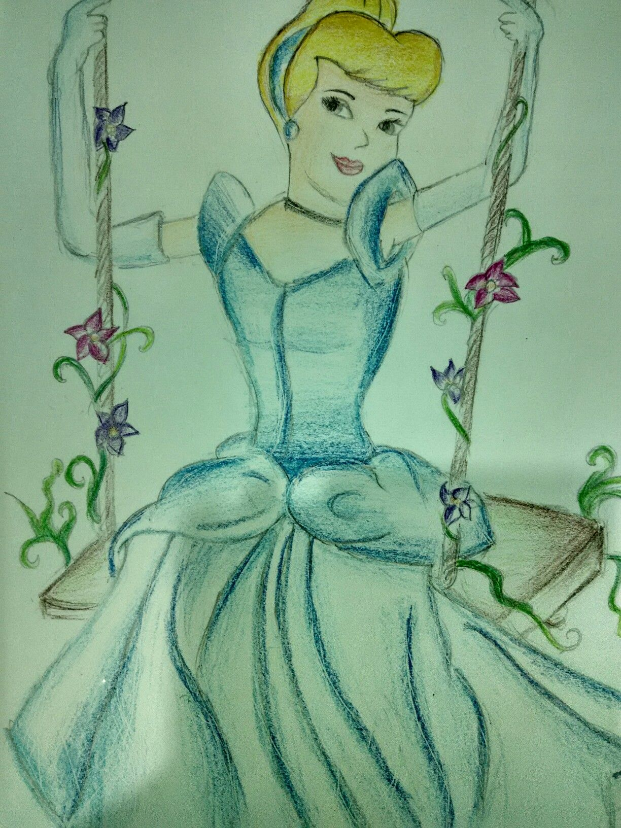Cinderella On The Swing Colour Pencil Sketch Cinderella Drawing Color Pencil Sketch Easy Drawings Cinderella Drawing