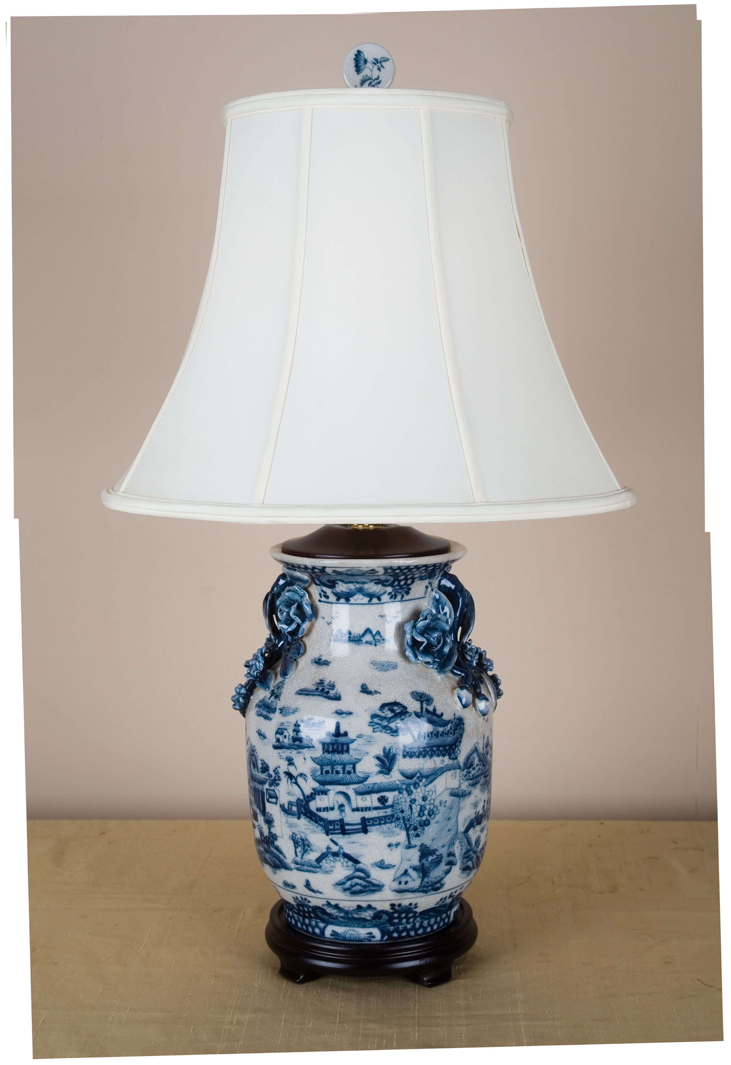 Blue Willow Porcelain Lamp Dress In Silk Shade All