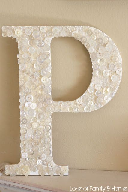 diy button covered monogram wooden letters from hobby lobby