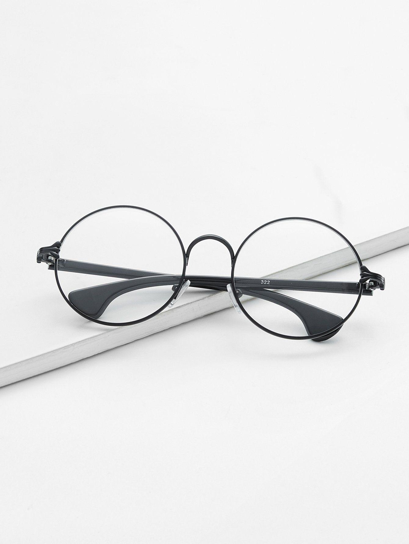 f84fc328c4e Matte Black Frame Clear Lens GlassesFor Women-romwe Wire Frame Glasses