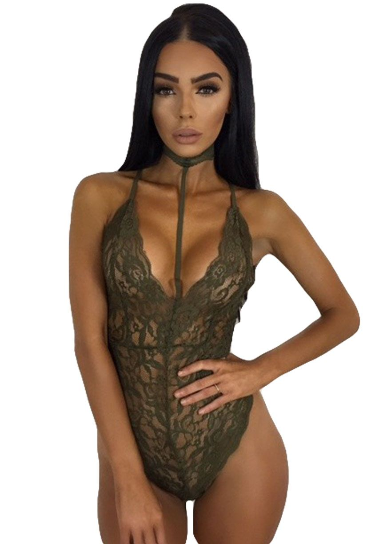 a44f51873e6 Sheer Lace Sassy Choker Bodysuit Teddies Lingerie Lingerie Sexy Lingeire