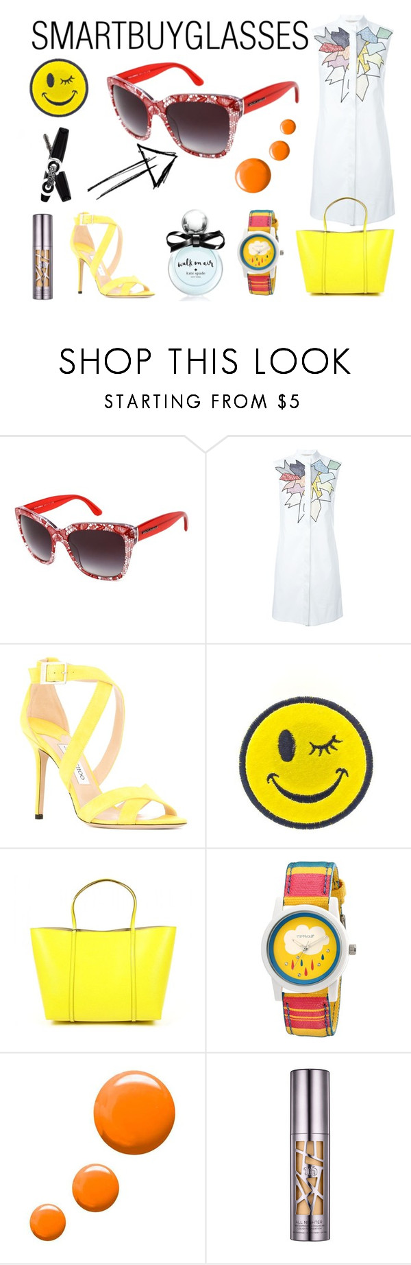 """""""SMARTBUYGLASSES contest"""" by vlahos-kron ❤ liked on Polyvore featuring Dolce&Gabbana, Christopher Kane, Jimmy Choo, Ana Accessories, Sprout, Topshop, Urban Decay, Kate Spade and smartbuyglasses"""