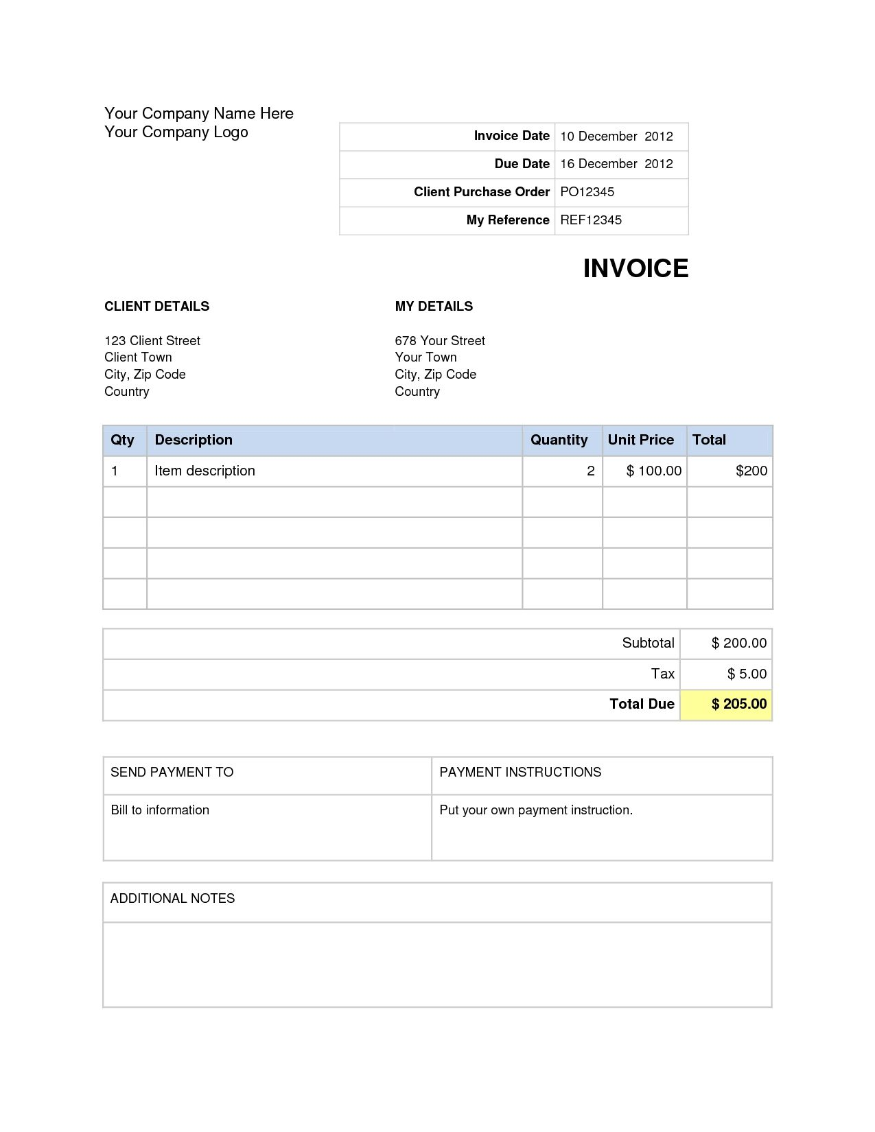 Word Document Invoice Template Blank Doc House Of Resumes 1275 X 1650
