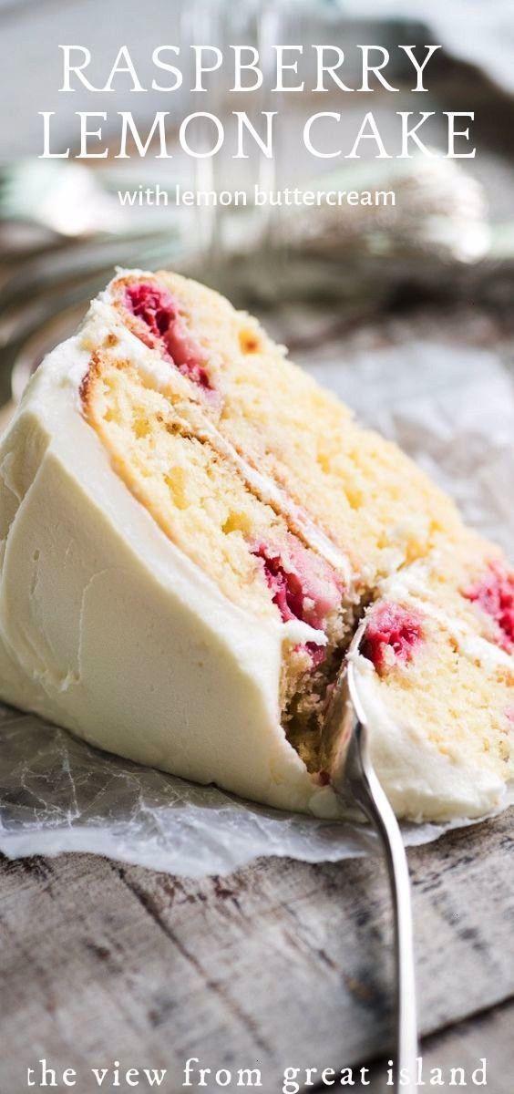 Raspberry Lemon Tea Cake recipe is a layer cake made with yogurt, fresh raspberries, and a fresh le