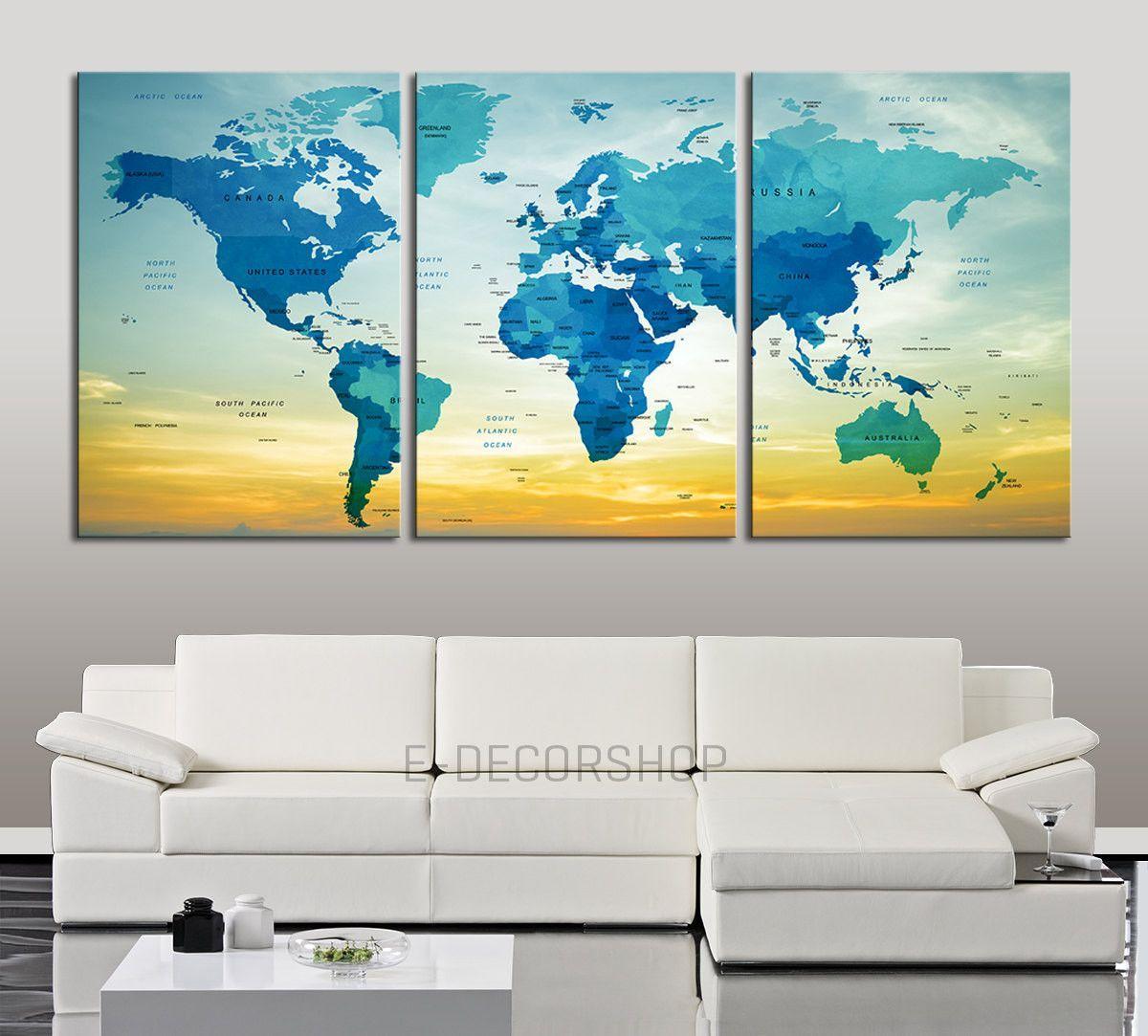 Each Panel 30x40 Inch World Map Canvas Print Names Of The Countries Name World Map Canvas Art Map Canvas Art Large Canvas Wall Art Map Wall Art