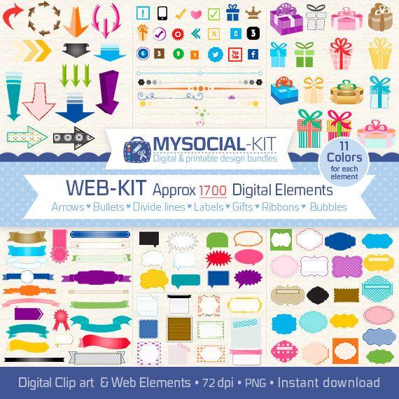 blog kit 1,700 Digital elements set in 11 colors, Instant Download ...