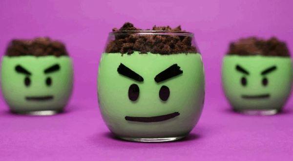 Incredible Hulk Pudding Cups