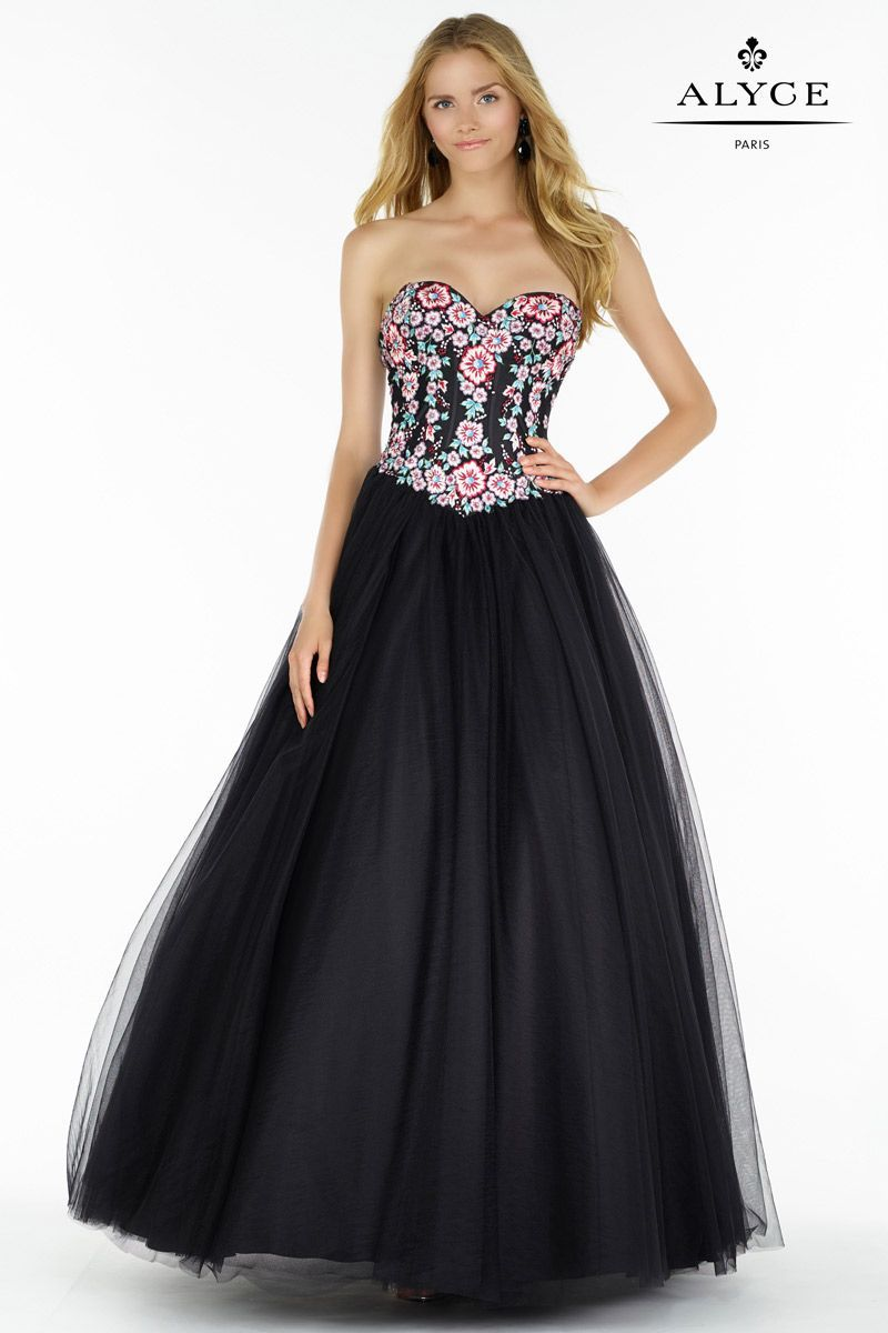Alyce paris is a ball gown style dress with a full tulle skirt