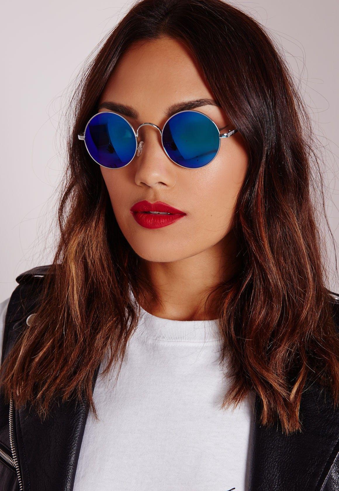 Silver Frame Round Mirrored Sunglasses Blue - Accessories - Sunglasses -  Missguided 2e162d21d1e