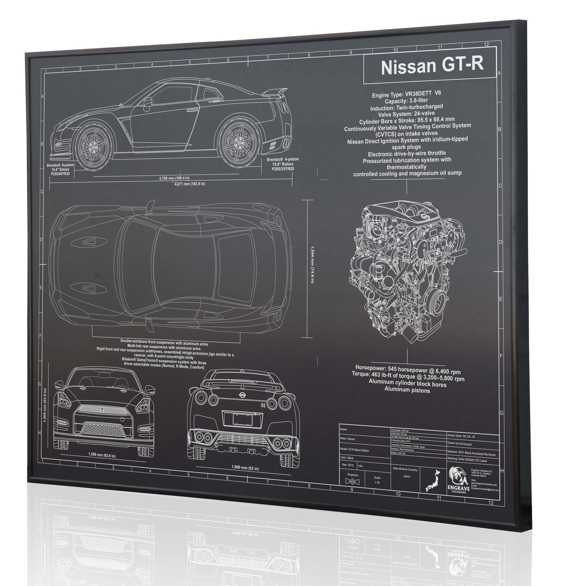 Nissan Gt R 2015 Gtr R35 Pinterest 3 8 Liter Gm Engine Diagram Bmw Laser Engraved Blueprint Artwork On Anodized Aluminum