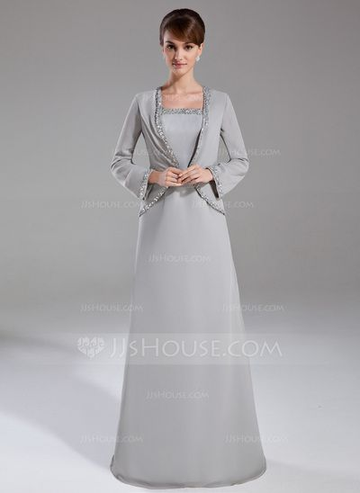 Mother of the Bride Dresses - $124.99 - Sheath/Column Square Neckline Floor-Length Chiffon Mother of the Bride Dress With Beading Sequins (008006178) http://jjshouse.com/Sheath-Column-Square-Neckline-Floor-Length-Chiffon-Mother-Of-The-Bride-Dress-With-Beading-Sequins-008006178-g6178