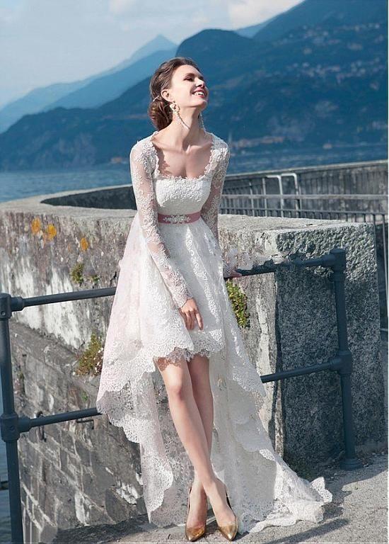 Boho Style Lace Long Sleeves High Low Wedding Dresses Beach 2016 ...