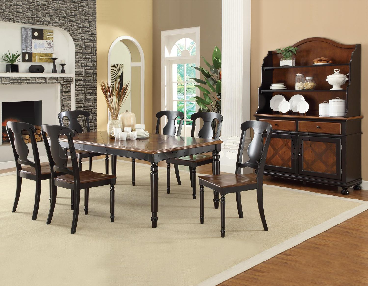 Connor Two Tone Dining Set Table With 18 Extension Leaf Buffet