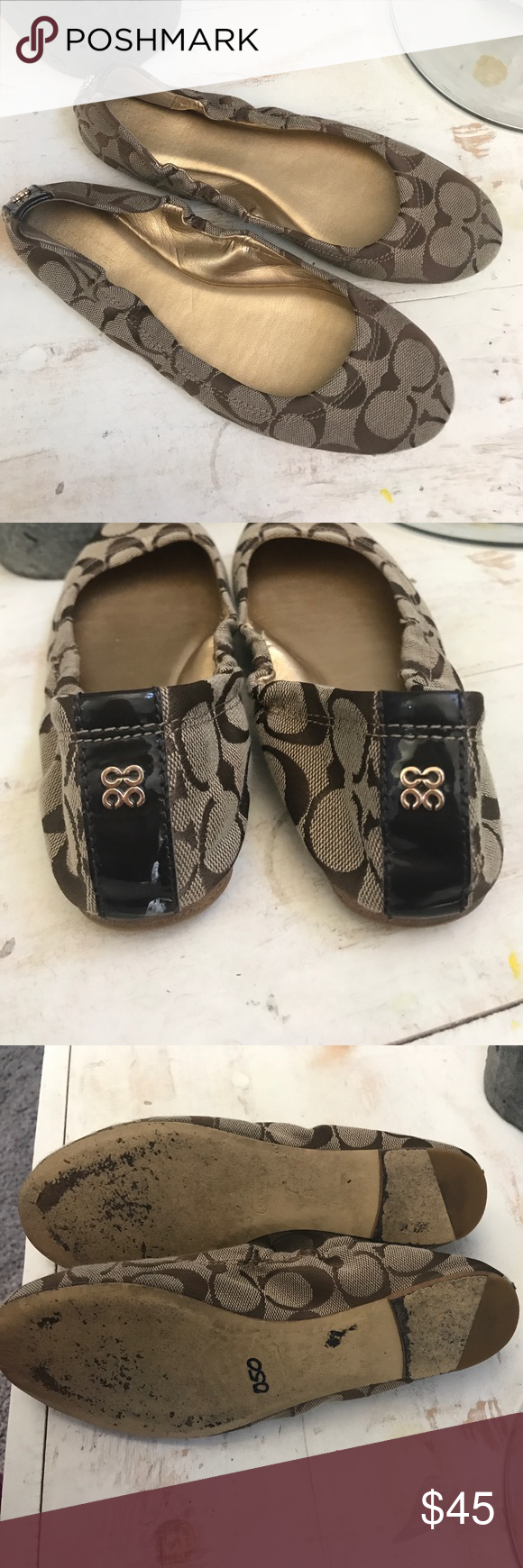 Coach size 7 flats ✨EUC coach flats size 7 I'm usually a size 6 but I tend to go a size bigger in sandals and flats so please know your size small white scuff on back as pictured above ✨ Coach Shoes Flats & Loafers