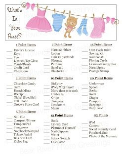 photograph regarding Free Printable Baby Shower Games What's in Your Purse called Whats inside of your purse activity Cost-free PRINTABLE Shower Boy or girl