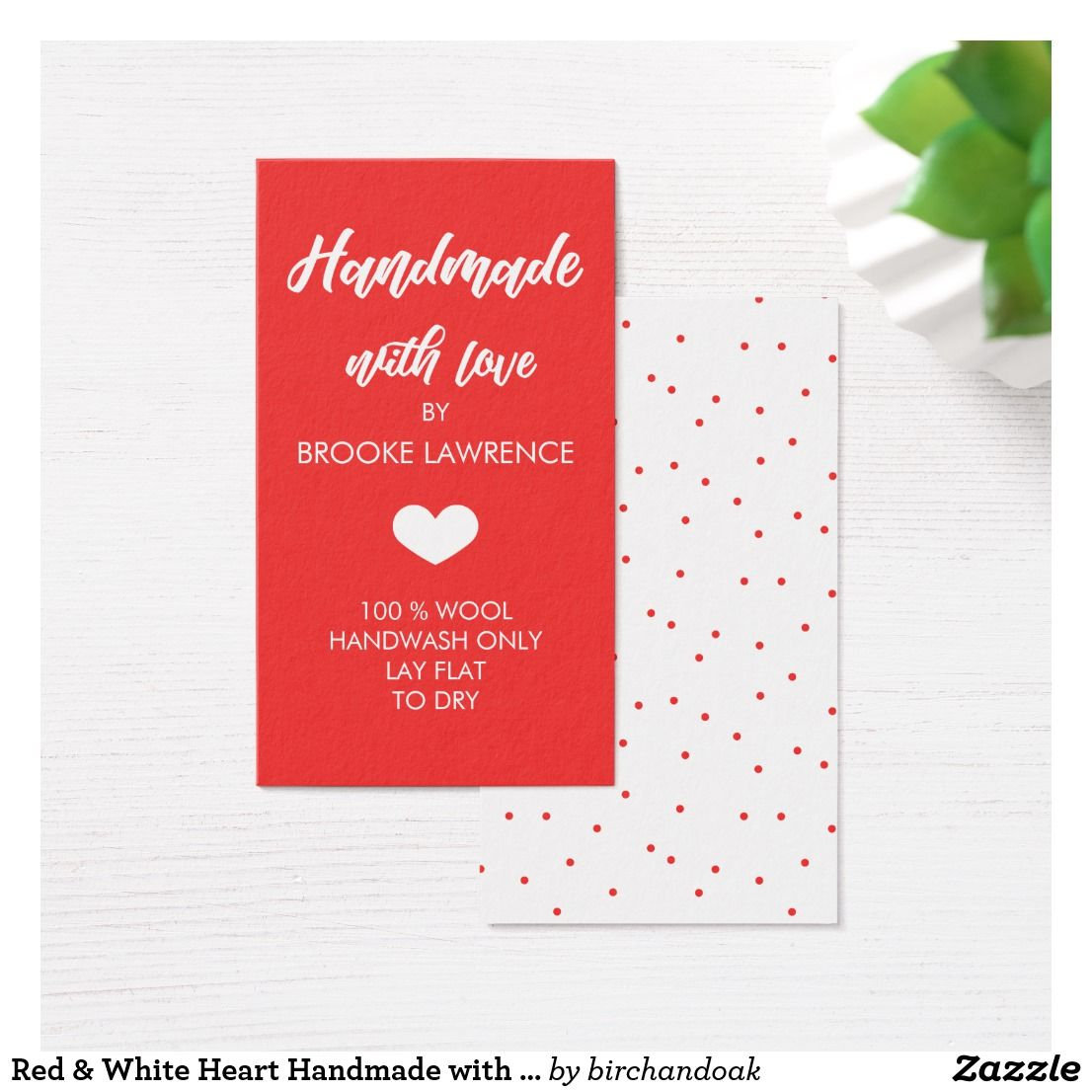 Red & White Heart Handmade with Love Business Card | Arts & Crafts ...