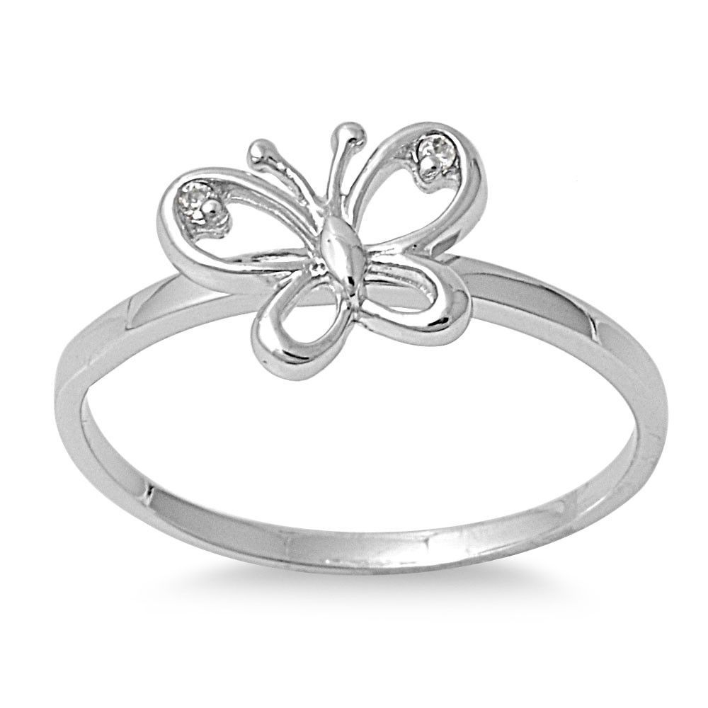 925 Sterling Silver Cz Butterfly Ring 8mm Moissanite Engagement Ring White Gold Silver Cz Rings White Gold Rings