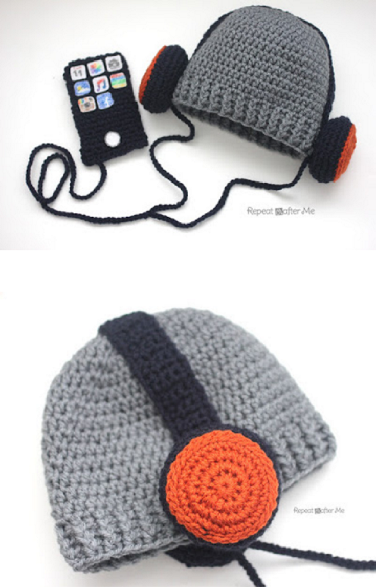 Crochet Headphones Hat Pattern - Repeat Crafter Me | patron gratuito ...