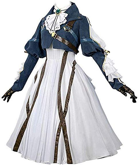 Photo of Amazon.com: Nuoqi Violet Evergarden Cosplay Costume Womens Anime Uniforms Suit Dark Blue White: Clothing