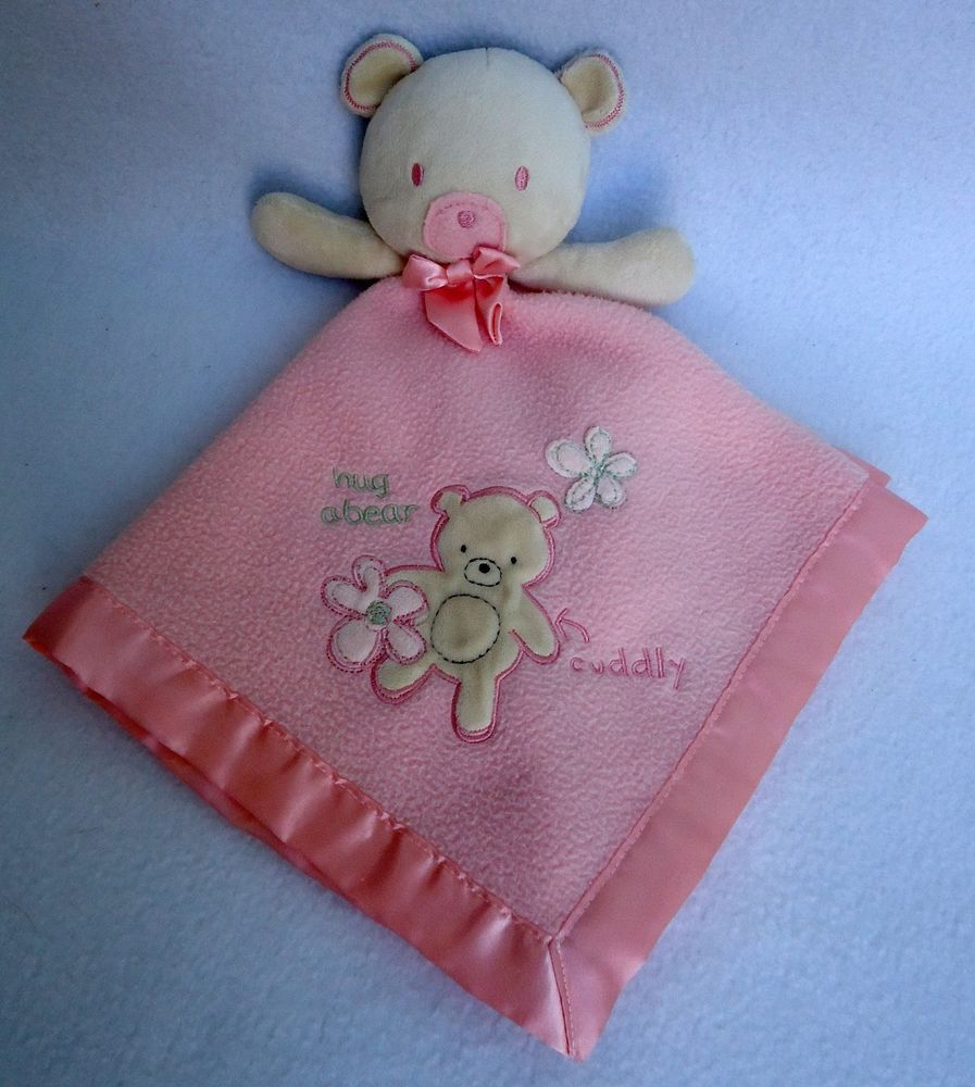 NWT Carters Purple Bear Girls Floral Plush Security Blanket