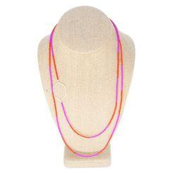 KYYOTE- Bold Minimalist X Long Necklace in Fuchsia & Cherry