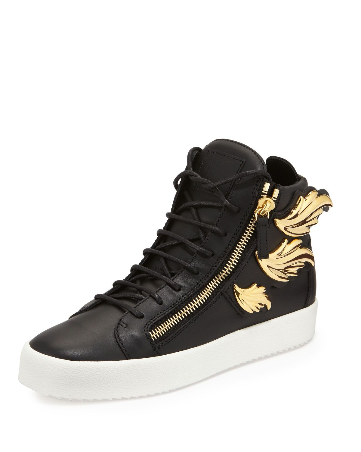 Men's Leather High-Top Sneaker with Golden Wings, Black, Size: - Giuseppe  Zanotti