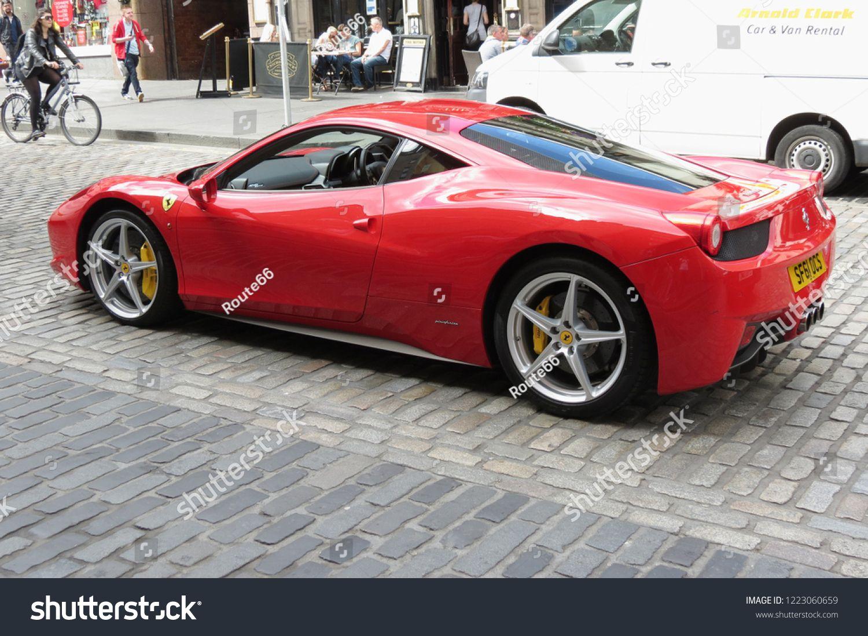 EDINBURGH, SCOTLAND, UK - CIRCA AUGUST 2015: red Ferrari Pininfarina car in a street of the city centre. #Ad , #AFFILIATE, #CIRCA#AUGUST#EDINBURGH#SCOTLAND
