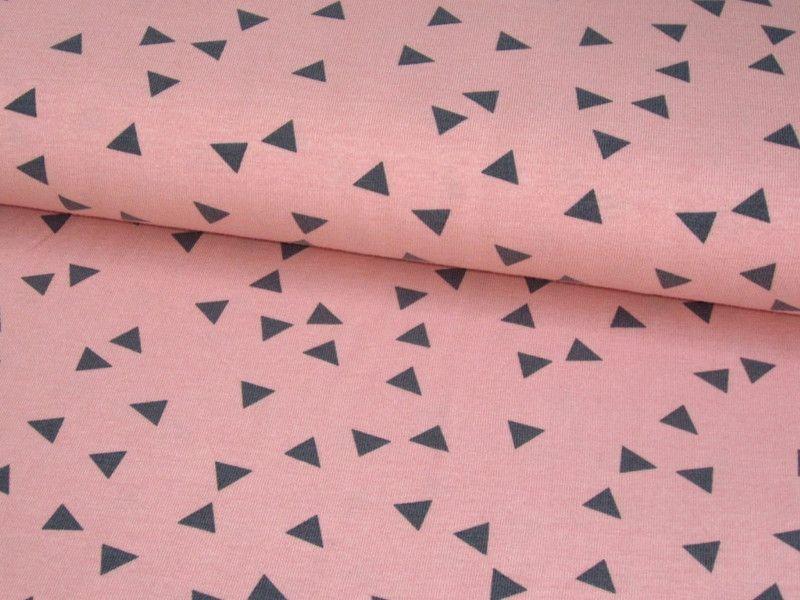 kinderstoffe jersey stoff triangle dreieck lachs altrosa grau ein designerst ck von fiebmatz. Black Bedroom Furniture Sets. Home Design Ideas