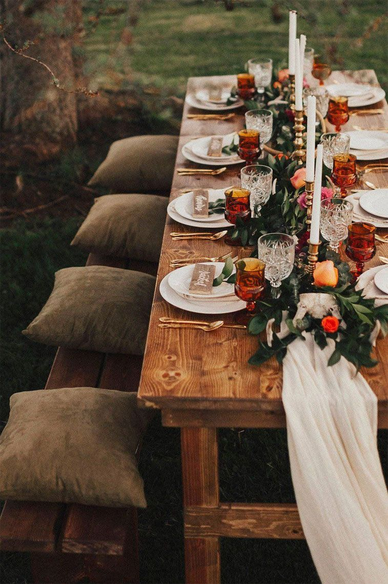 Jewel toned wedding table decoration - teal candles , teal glasses and copper plates #weddingtable #weddingdecor