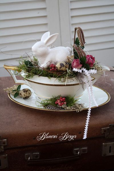 Photo of Frühling Ostern DIY Dekoration / Spring Easter Decor. Bunny rabbit in a tea cup…