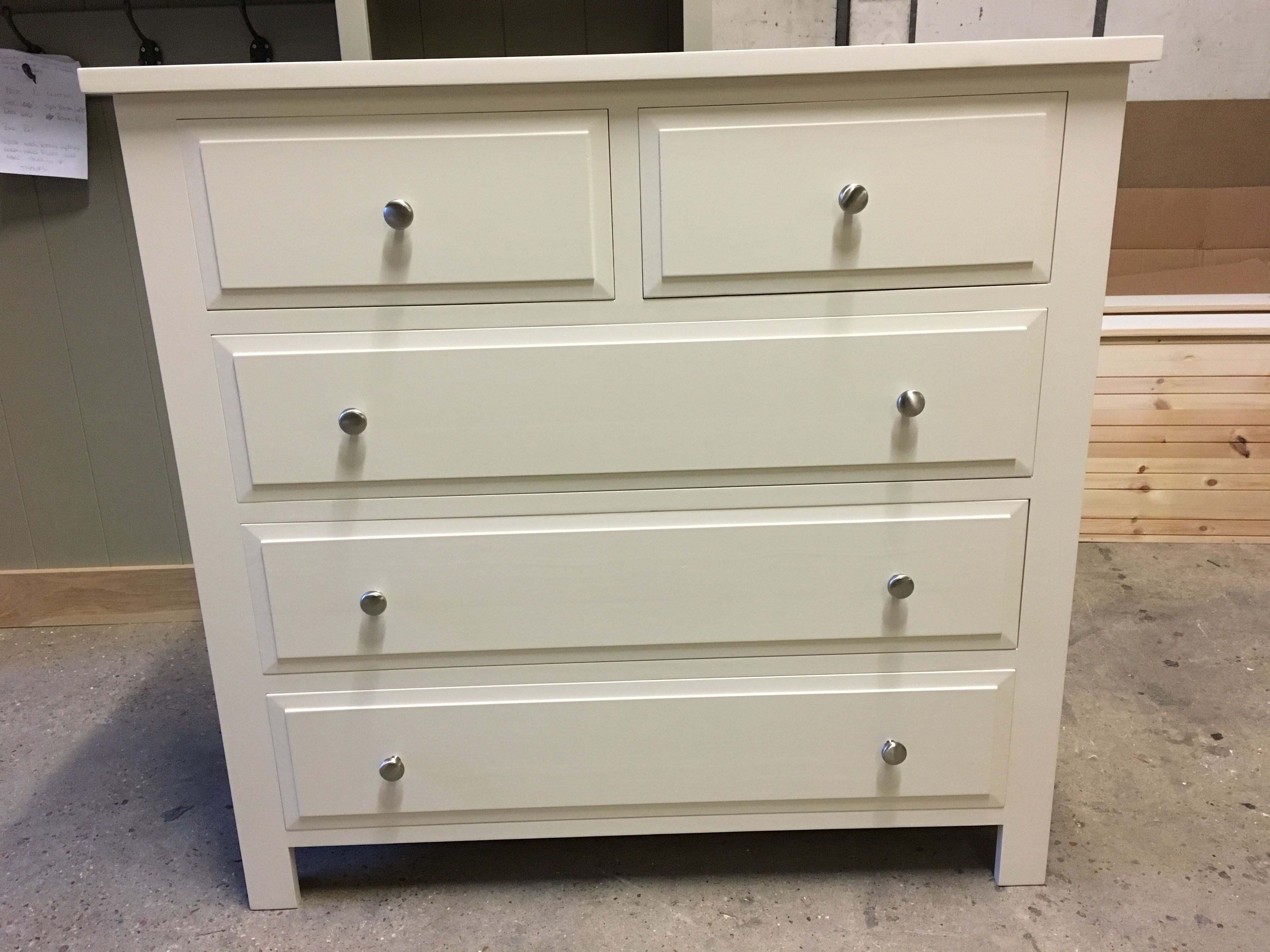 one of our shaker style chest of drawers painted in dulux natural