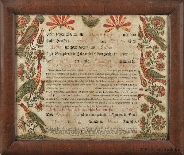 18th c PA birth certificate fraktur | The Art of the Matter ...