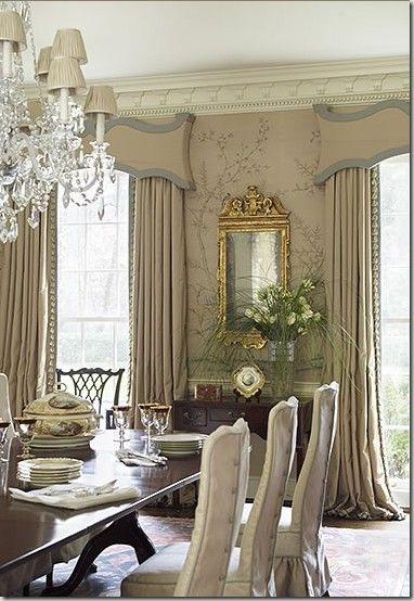 Ordinaire Very Soothing Dining Room. Love The Cornices And Drapes. Look The Chair  Slips Too