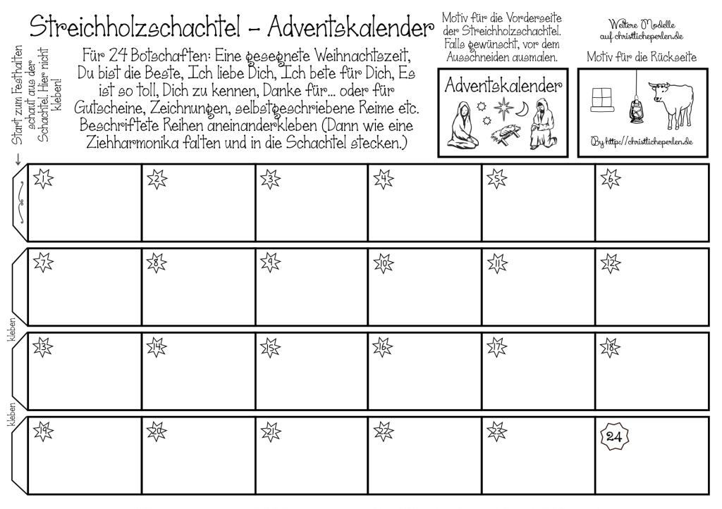 Streichholzschachtel Adventskalender Christliche Perlen Adventkalender Adventskalender Spruche Zum Ausdrucken Adventskalender