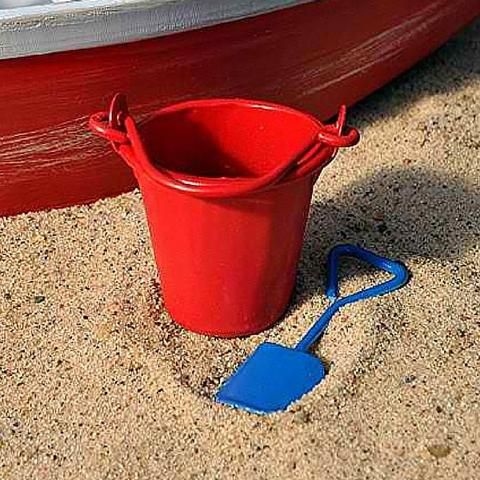 Pail and Shovel. www.teeliesfairygarden.com . . . More sandcastles will be made and happier fairies will come to you by adding this pail and shovel to your beach fairy garden! #fairybeach