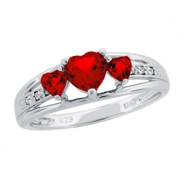 Created Ruby Heart Sterling Silver Diamond Accent Birthstone Ring - Item BI9632R1CR   REEDS Jewelers