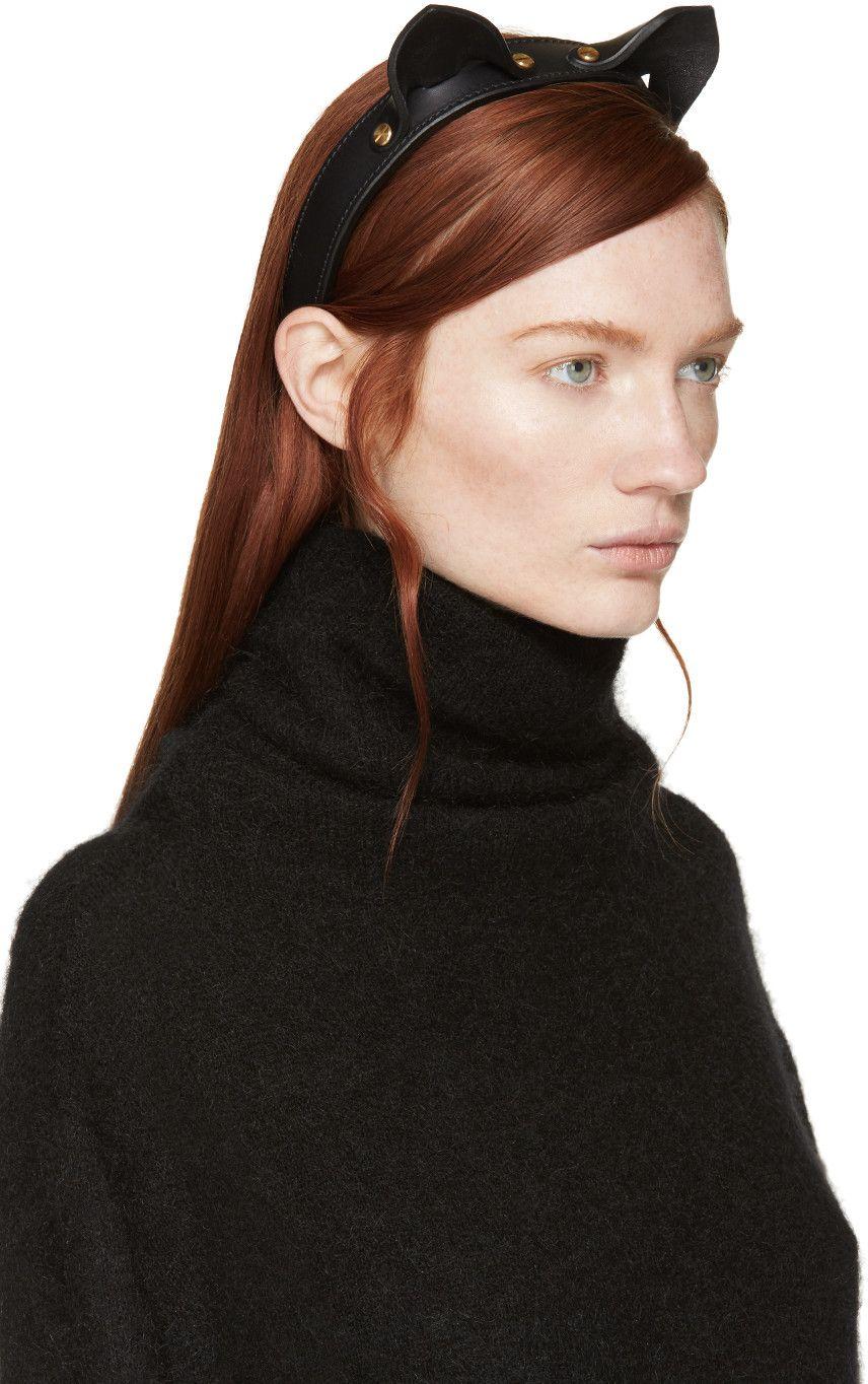 Fleet Ilya Black Leather Cat Ear Headband