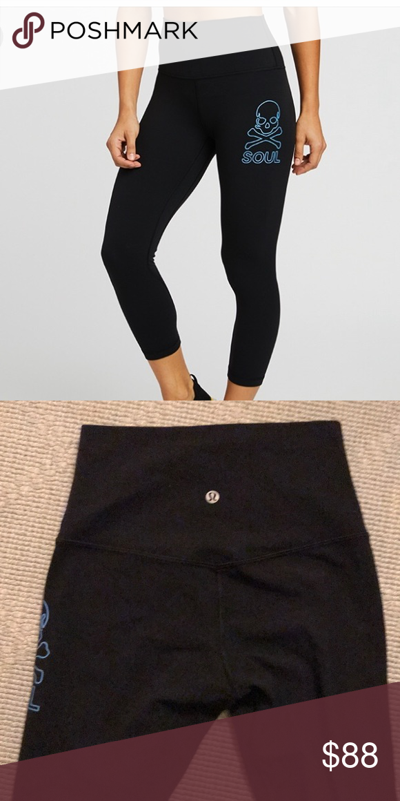 e042438b14a8c2 NWT Lululemon Align crop pants size 4 NWT Lululemon x Soulcycle align pants.  Black with bright blue skull lululemon athletica Pants Leggings