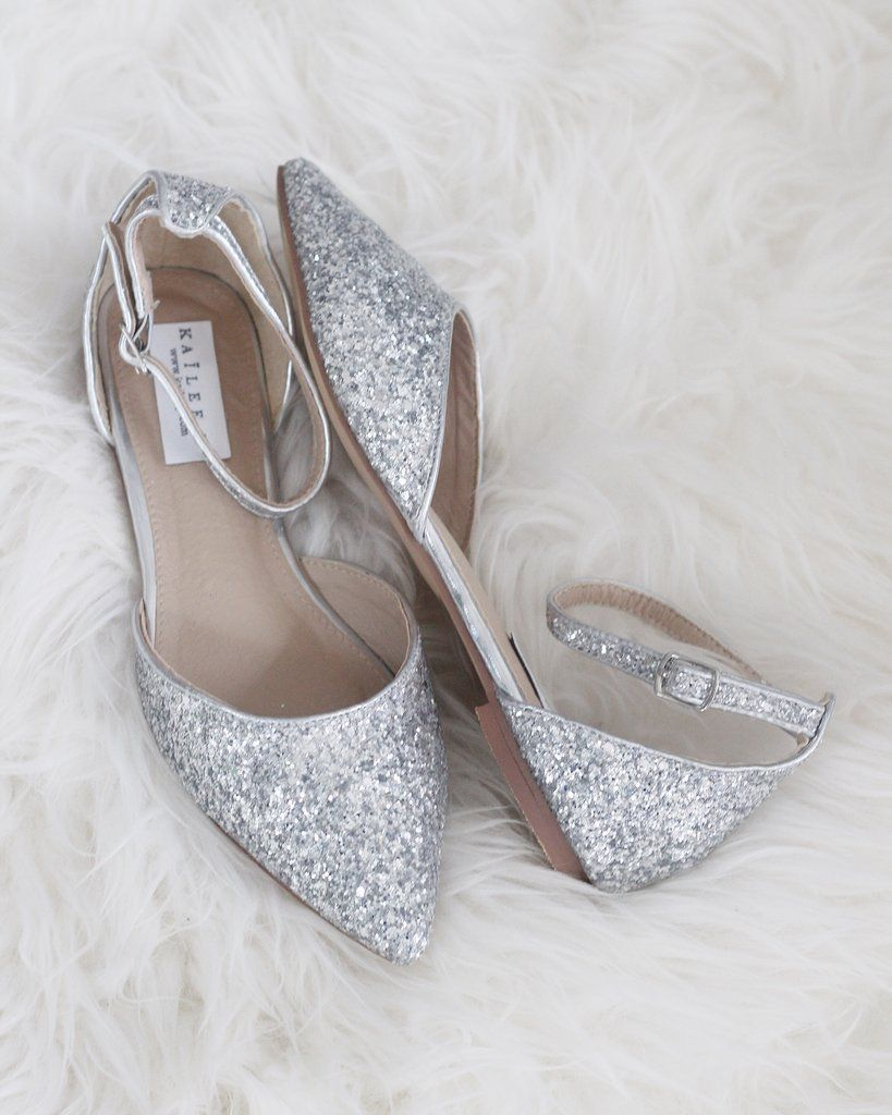 Silver Rock Glitter Ankle Strap Flats In 2021 Bride Shoes Silver Wedding Shoes Wedding Shoes