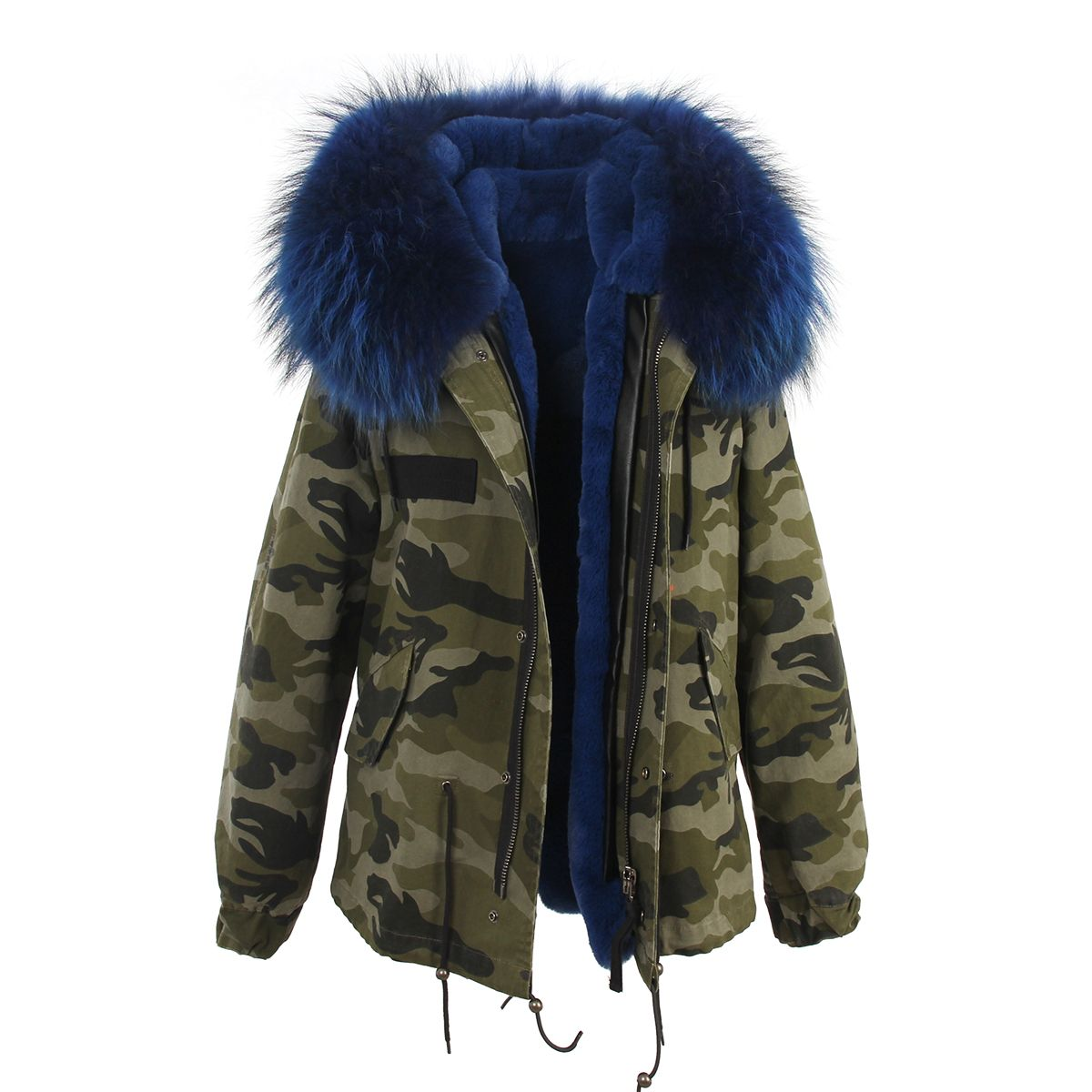 Camouflage parka jacket with blue fur hood and faux fur lining ...