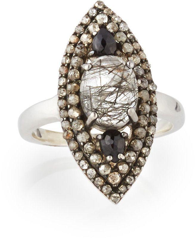 Bavna Champagne Diamond Teardrop Ring, Size 8