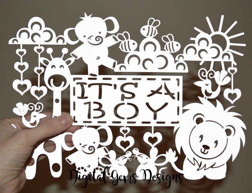 It's A Boy Paper Cut, New Baby SVG / DXF Cutting File For