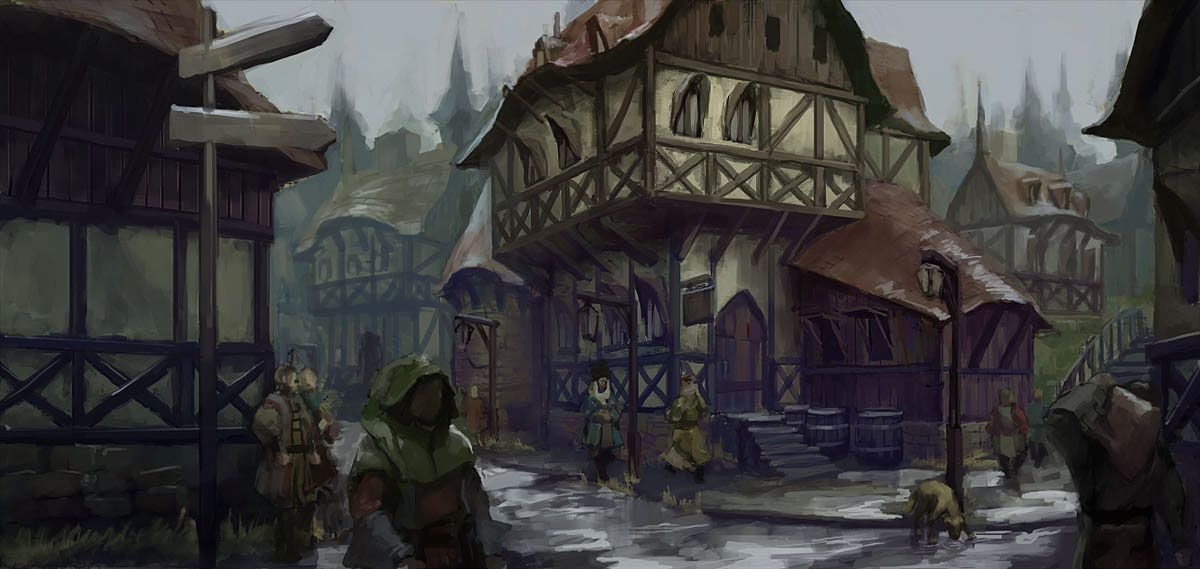 Medieval town concept art | Fantasy Taverns, Inns and Towns