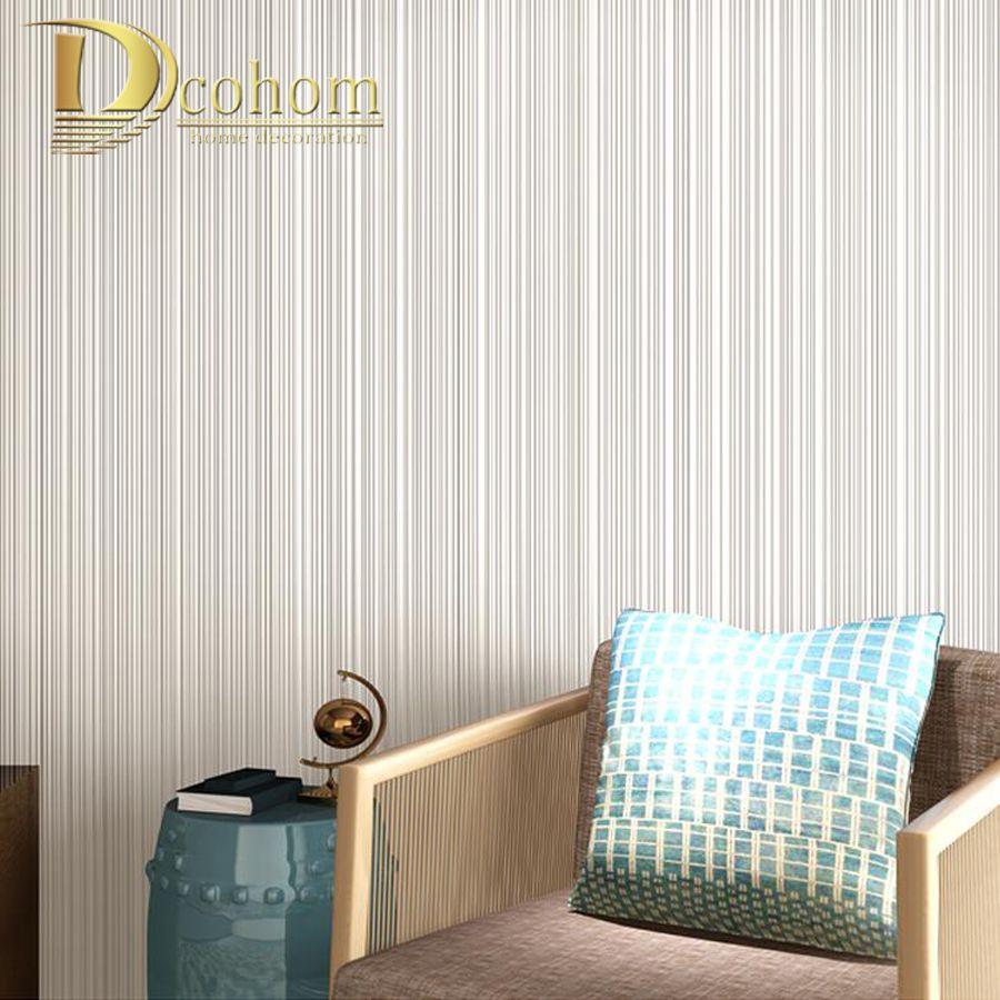 Modern Cozy Simple Green Grey 3D Fine Stripes Wallpaper For Walls